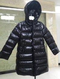 Chinese  2 Color Girls 2018 Winter Down jakcet M Down Coat Hooded Waist 90% Thick Duck outerwear children's Warm Clothes for Parkas With Dust Bag manufacturers