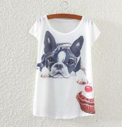 $enCountryForm.capitalKeyWord NZ - Brand Women T-shirt The Bulldog Printing Pattern Bat Sleeve Harajuku Losse Women's T Shirt Fashionable cotton loose women's fashion
