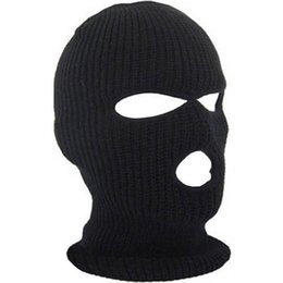 Chinese  New Full Face Cover Mask Three 3 Hole Balaclava Knit Hat Winter Stretch Snow mask Beanie Hat Cap New Black Warm Face masks manufacturers