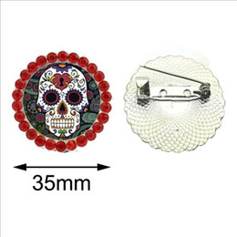 Glasses Brooch Australia - 2019 Skull Brooch Pins for Man Round Suger Skull Glass Brooch Jewelry New Fashion Day of the Dead Crystal Brooch Vintage