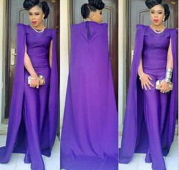 african jumpsuits 2019 - Purple Prom Dresses With Cape African Jumpsuit Satin Sweep Train Gorgeous Evening Dress Cocktail Party Gowns Plus Size c