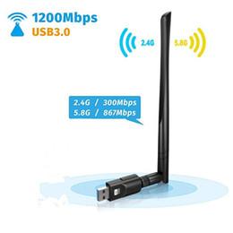 Опт 1200 Мбит / с USB 3.0 двухдиапазонный 2.4G / 5G мини беспроводной сетевой адаптер USB Wi-Fi адаптер с адаптером 5dBi для ноутбука Destop