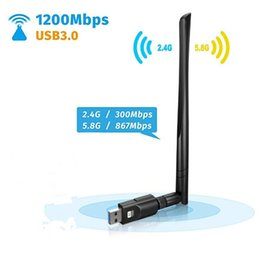 Discount usb laptop antenna - 1200Mbps USB 3.0 Dual Band 2.4G 5G Mini Wireless Network Adapter USB Wi-Fi Dongle Adapter With 5dBi Antenna For Laptop D