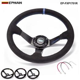 Ingrosso EPMAN -NEW Auto 350mm Deep Dish Drift racing volante in pelle scamosciata con pulsante clacson EP-FXP1701R