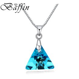 crystal triangle necklace UK - BAFFIN XILION Triangle Pendant Necklace Crystals From SWAROVSKI s Silver Color Chain Necklaces For Women Kids Jewelry