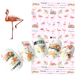 Discount 3d nail art accessories - 1 Sheets Colorful Tropical Flamingo Sticker Nail Art 3D DIY Accessory Fashion Animal Decals Nail Wraps Decorations Tips