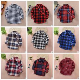 Discount top girl fashion designers - Kids Plaid Shirt Baby Boys Girls 100% Cotton Blouse Toddler Long Sleeve Shirts Tops Fashion Korean Styles Designer Cloth