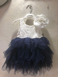 no back lace wedding dresses 2021 - Retail sale children Stereo flowers lace tulle tutu dresses girls back V-neck tulle cake dress kid navy knee length wedd