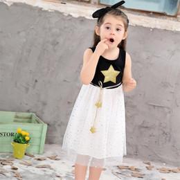 Star Belts Australia - summer baby girl party princess dress new fashion kids Sequins Dress Star Printed with Belt vest Dresses