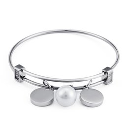 $enCountryForm.capitalKeyWord NZ - Wholesale 56mm Inner Round Charms And Pearl Bangle For Women Lady Female Stainless Steel Zircon Bangles