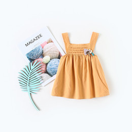 Pinafore Dresses NZ - 100% Pure Cotton Baby Girl Dress Pinafore Dress Babydoll for Infant Girl Skirt 5sizes Solid Yellow Simple Dress