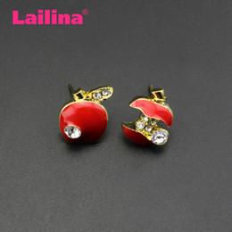 Crystal Stud Metal Australia - 50pair lot Zinc Metal Gold Tone Crystal Girls Women Red Green Enamel Apple Shape Stud Earrings