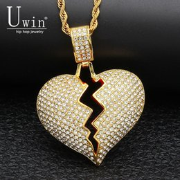 Discount chain tennis - UWIN Solid Broken Heart Rhinestone Necklace&Pendant Iced Out Tennis Chain Trendy Rock Punk Hip Hop Men Jewelry For Gift