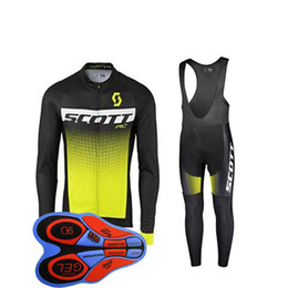 Discount jersey bib yellow - SCOTT team Cycling long Sleeves jersey (bib) pants sets mens quick-dry Clothing maillot mountain bike Gel Padded j101103