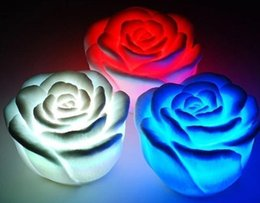 Flameless candles rose online shopping - Electronic Changing Color LED Rose Flower Candle lights smokeless flameless roses love lamp Wedding Party Decor chirstmas gift