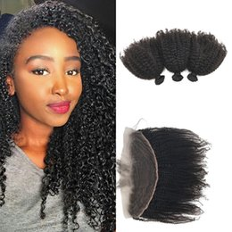 Discount afro kinky hair bundle closure - Afro Kinky Curly Lace Frontal with Bundles Unprocessed Peruvian Human Hair 13x4 Lace Frontal Closure with 3 Hair Bundles