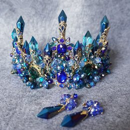 accessories for quinceanera 2019 - Luxury Zircon Crystal Big Tiaras and Crowns Headbands For Women Jewelry Earrings Party Quinceanera Pageant Wedding Hair