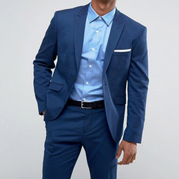 EvEning dinnEr wEar online shopping - Blue Groom Tuxedos Groom Wear Two Piece Peaked Lapel One Button Classic Fit Evening Dinner Party Men Suits Jacket Pants