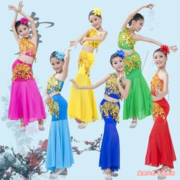 yellow fish costumes NZ - Children Traditional Dress Sequins Belly Dance Costume For Girls Peacock Kids Dai Fish Tail Leotard Girl Dancewear