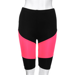 pink polyester leggings UK - 2018 Brand New Seamless Leggings Polyester Knee Length Fashion Solid High Elasticity Knee Shorts Spliced Gym Active Pants