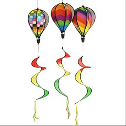 Discount style spinner - Windsock Hot Air Balloon 6 Styles Wind Spinner with Rainbow Stripe Garden Yard Outdoor Decoration Outdoor Activities 200