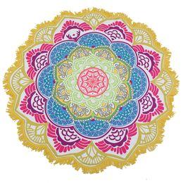 $enCountryForm.capitalKeyWord UK - Drop Shipping Tassel Indian Mandala Tapestry Totem Lotus Printing Beach Towel Yoga Mat Sun block Round Bikini Cover-Up Blanket