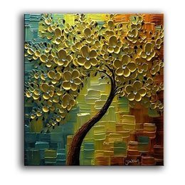 $enCountryForm.capitalKeyWord NZ - Abstract Golden Flowers Tree High Quality HandPainted  HD Print Modern Wall Decor Art Oil Painting On Canvas.Multi sizes  frame Options Ls66