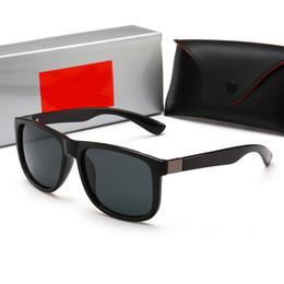 Wayfarer Black White Australia - 2018 New Wayfarers Sunglasses RAY Men Women 55mm Brand Cat Eye Sun Glasses Bands BEN Mirror Gafas de sol BANS 4185 with cases