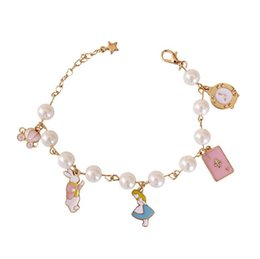 Discount nice cars - Elegant shape women Alice In Wonderland bracelet polishing pumpkin car poker card charm pearl bracelet girl nice gift po