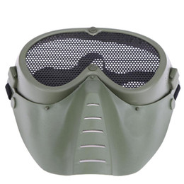 Net mesh mask online shopping - Airsoft Mask Full Face Metal Steel Net Mesh Mask Hunting Tactical Protective CS Halloween Party Cosplay Full Cycling Face Mask