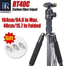 Professional Dslr Cameras NZ - RT40C 12KG bear carbon fiber professional camera tripod compact DSLR monopod stand portable light video tripods