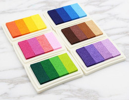 Discount office rubber stamps - New Office Homemade DIY Gradient Color ink Pad Multi-colour Inkpad Stamp Decor Fingerprint Scrapbooking Tools 6 Colors