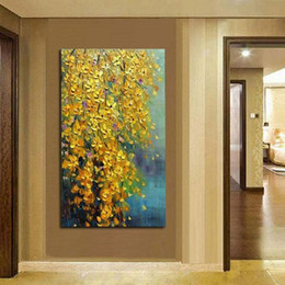 $enCountryForm.capitalKeyWord Australia - 100% Hand Painted Landscape Oil Painting Yellow Flowers Painting Modern Home Decoration Gift For Christmas gift