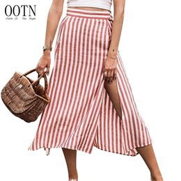 5bd8427d2e OOTN rojo blanco a rayas de cintura alta faldas mujeres dividir Sexy faldas  largas oficina femenina Midi falda cremallera Ladies Casual Fashion 2018
