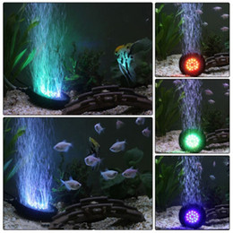 bubble leds UK - DC12V 5W 10.5CM Colourful Aquarium Air Stones Bubble Disk Fish Tank Air Pump Aerator Oxygen Pump 18 LEDs Light AC110-240V