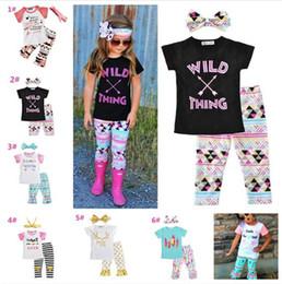 $enCountryForm.capitalKeyWord Australia - 10pcs Baby girl summer Clothing Set Letters tshirts Pants Headbands 3Pcs Set Kids Tops Suits Boutique Clothes Outfits Y199