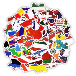 Wholesale 50 National Flags Stickers Toys for Children Countries Map Travel Sticker to DIY Scrapbooking Suitcase Laptop Car Motorcycle