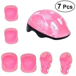 Bicycling Gear UK - 7Pcs Children Elbow Wrist Knee Pads Bicycle Helmet Children Sports Safety Protective Gear Skateboard Skate (Pink)