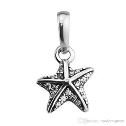 $enCountryForm.capitalKeyWord NZ - Tropical Starfish Pendant charms beads real S925 silver fits for pandora style bracelet free shipping H8 390403CZ