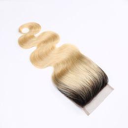China Ombre 1B 613 Bleach Blonde Brazilian Virgin Human Hair Lace Closures Body Wave 9A Peruvian Malaysian Indian Cambodian Russian Hair Closure supplier virgin russian hair body wave suppliers