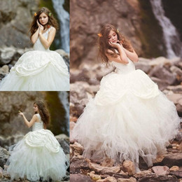 2148fc9297a Ball Gown Flower Girls Dresses For Weddings With Straps Lace And Tulle Girls  Pageant Dress Ruched Cute Kids Birthday Gowns Party Formal Wear