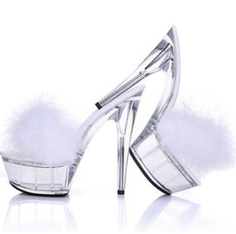 China Sexy Bird Feather Fur PVC Sandals Slingbacks High heels Slipper sandals Shoes Pumps Transparent Stiletto Night Club Ball Crystal Shoes supplier night slippers suppliers