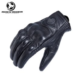 gloves motorcycle motorbike 2018 - Rock Biker Retro Full Finger Motorcycle Gloves Leather Summer Men Cycling Moto Motorbike Protective Gears Vintage Glove