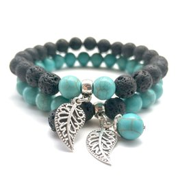 $enCountryForm.capitalKeyWord Australia - Leaf Charms 8mm Turquoise Black Lava Stone Beads Bracelets DIY Essential Oil Diffuser Bracelet Yoga Jewelry