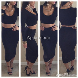 15f19855d2 Wholesale-red black white women crop top + bodycon pencil high waisted long  maxi skirts womens saias femininas sexy hot outfits