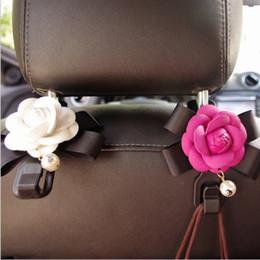 car interior hooks 2019 - Car Seat Back Hook Creative Camellia Interior Hanging Backrest Car Seat Storage Hook Multi-function Car Interior Jewelry
