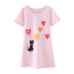 girls baby night dress UK - Summer Girls Nightgowns for 3-10Yrs Princess Kids Cartoon Printed Pajamas Baby Girl Sleepwear Cotton Night Dress Home Wear