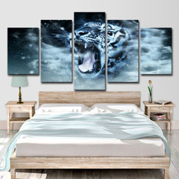 $enCountryForm.capitalKeyWord NZ - Art HD Prints Posters 5 Pieces White Tiger Paintings Abstract Animals Pictures Home Decor For Living Room