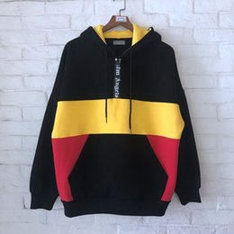 Wholesale 2019SS NEW Best Quality Palm Angels Middle half zipper Black yellow red Splice men Pullover Hoodies Hip hop Fashion Sweatshirts