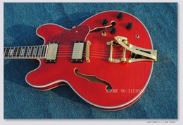 musical instruments hollow body jazz Canada - Free Shipping Top quality custom JAZZ Hollow RED electric guitar Musical Instruments